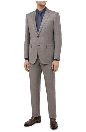 Мужская сорочка из шелка и хлопка ERMENEGILDO ZEGNA синего цвета, арт. 801454/9YC0CA | Фото 2