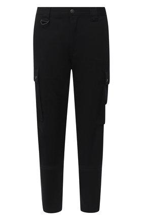 Мужской хлопковые брюки-карго DIESEL черного цвета, арт. A00093/0GAXY   Фото 1