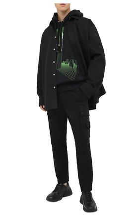 Мужской хлопковые брюки-карго DIESEL черного цвета, арт. A00093/0GAXY   Фото 2