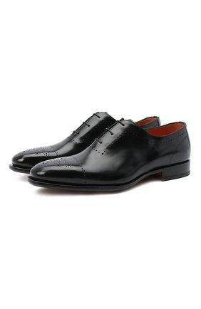 Мужские кожаные оксфорды SANTONI черного цвета, арт. MCLE17029BB1IVVDN01 | Фото 1
