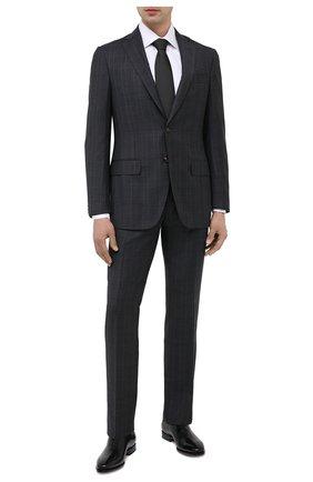 Мужские кожаные оксфорды SANTONI черного цвета, арт. MCLE17029BB1IVVDN01 | Фото 2