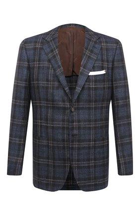 Мужской пиджак из кашемира и шелка KITON темно-синего цвета, арт. UG81K01T01 | Фото 1