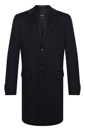 Мужской шерстяное пальто BOSS темно-синего цвета, арт. 50438708 | Фото 1