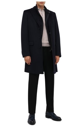 Мужской шерстяное пальто BOSS темно-синего цвета, арт. 50438708 | Фото 2