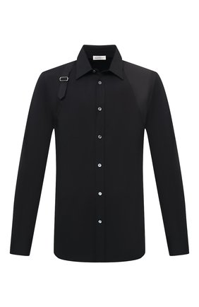 Мужская хлопковая рубашка ALEXANDER MCQUEEN черного цвета, арт. 624753/QPN44 | Фото 1