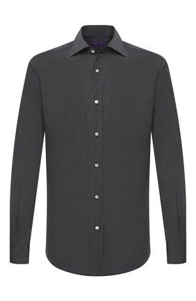 Мужская хлопковая сорочка RALPH LAUREN темно-серого цвета, арт. 791819178 | Фото 1 (Материал внешний: Хлопок; Длина (для топов): Стандартные; Рукава: Длинные; Случай: Формальный; Стили: Классический)