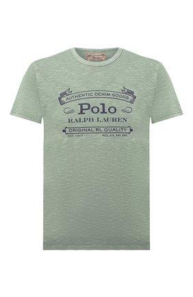 Мужская хлопковая футболка POLO RALPH LAUREN зеленого цвета, арт. 710795143 | Фото 1