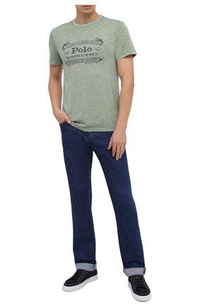 Мужская хлопковая футболка POLO RALPH LAUREN зеленого цвета, арт. 710795143 | Фото 2
