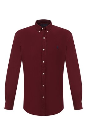 Мужская хлопковая рубашка POLO RALPH LAUREN бордового цвета, арт. 710804257 | Фото 1