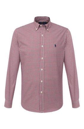 Мужская хлопковая рубашка POLO RALPH LAUREN бордового цвета, арт. 710804256/2365 E | Фото 1