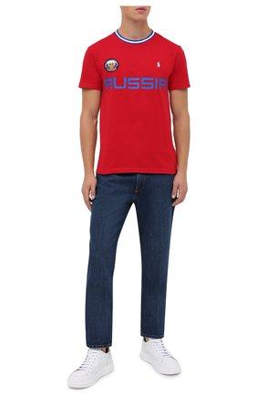 Мужская хлопковая футболка POLO RALPH LAUREN красного цвета, арт. 710803534 | Фото 2 (Рукава: Короткие; Длина (для топов): Стандартные; Материал внешний: Хлопок; Мужское Кросс-КТ: Футболка-одежда; Стили: Спорт-шик)