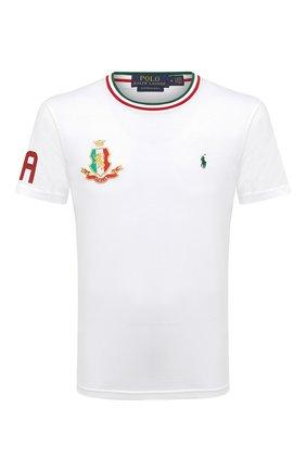 Мужская хлопковая футболка POLO RALPH LAUREN белого цвета, арт. 710803528 | Фото 1