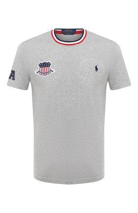 Мужская хлопковая футболка POLO RALPH LAUREN серого цвета, арт. 710803518 | Фото 1 (Рукава: Короткие; Длина (для топов): Стандартные; Материал внешний: Хлопок; Мужское Кросс-КТ: Футболка-одежда; Стили: Спорт-шик)