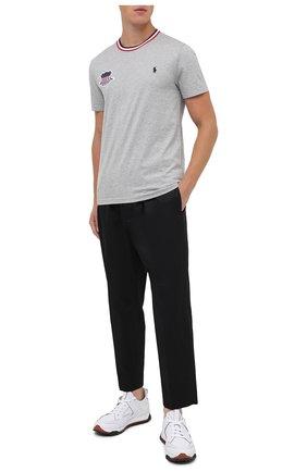 Мужская хлопковая футболка POLO RALPH LAUREN серого цвета, арт. 710803518 | Фото 2 (Рукава: Короткие; Длина (для топов): Стандартные; Материал внешний: Хлопок; Мужское Кросс-КТ: Футболка-одежда; Стили: Спорт-шик)