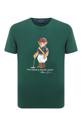 Мужская хлопковая футболка POLO RALPH LAUREN зеленого цвета, арт. 710803488 | Фото 1