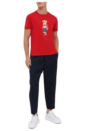Мужская хлопковая футболка POLO RALPH LAUREN красного цвета, арт. 710803488 | Фото 2