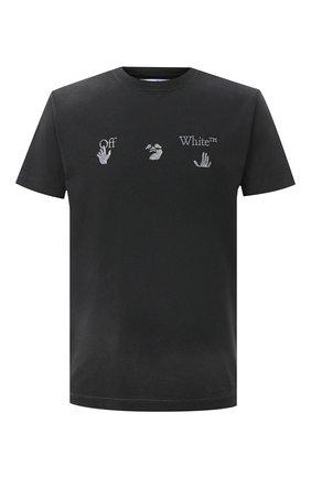 Мужская хлопковая футболка OFF-WHITE черного цвета, арт. 0MAA027F20FAB0011001   Фото 1
