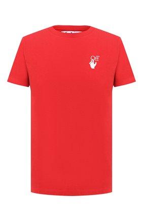 Мужская хлопковая футболка OFF-WHITE красного цвета, арт. 0MAA027F20FAB0092501   Фото 1