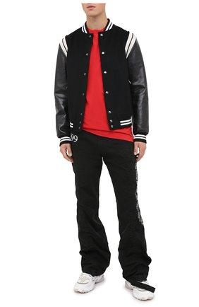 Мужская хлопковая футболка OFF-WHITE красного цвета, арт. 0MAA027F20FAB0092501   Фото 2