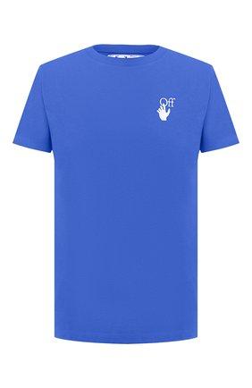 Мужская хлопковая футболка OFF-WHITE синего цвета, арт. 0MAA027F20FAB0094501   Фото 1