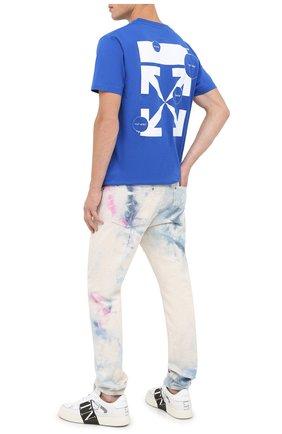 Мужская хлопковая футболка OFF-WHITE синего цвета, арт. 0MAA027F20FAB0094501   Фото 2