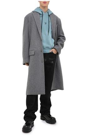 Мужской хлопковое худи OFF-WHITE голубого цвета, арт. 0MBB034F20FAB0014310   Фото 2