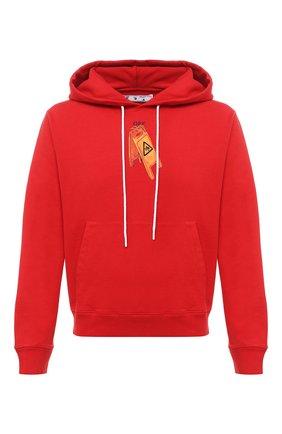 Мужской хлопковое худи OFF-WHITE красного цвета, арт. 0MBB034F20FLE0032510 | Фото 1
