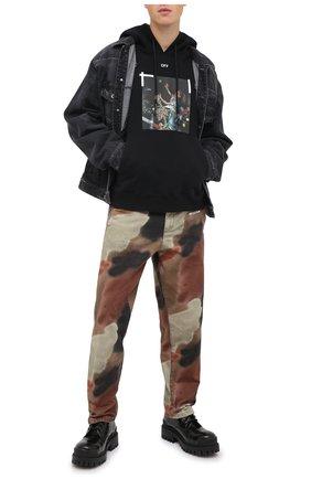 Мужской хлопковое худи OFF-WHITE черного цвета, арт. 0MBB034F20FLE0111001   Фото 2