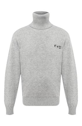 Мужской кашемировый свитер OFF-WHITE серого цвета, арт. 0MHF018F20KNI0010910   Фото 1