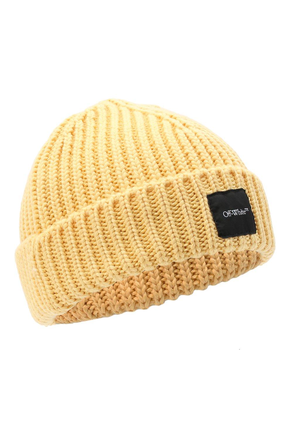 Мужская шерстяная шапка OFF-WHITE желтого цвета, арт. 0MLC001F20KNI0011800 | Фото 1