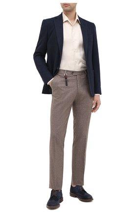 Мужской брюки из шерсти и кашемира MARCO PESCAROLO бежевого цвета, арт. SLIM80/4233 | Фото 2