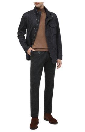 Мужской брюки из шерсти и кашемира MARCO PESCAROLO темно-серого цвета, арт. SLIM80/4233 | Фото 2
