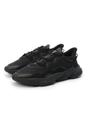 Мужские комбинированные кроссовки ozweego ADIDAS ORIGINALS черного цвета, арт. FV9665 | Фото 1