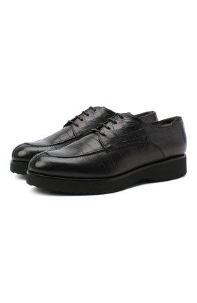 Мужской кожаные дерби DOUCAL'S черного цвета, арт. DU2482DAK0UM023NN05 | Фото 1