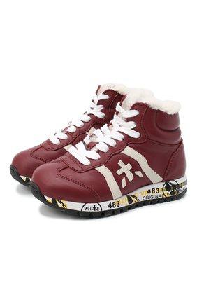 Детские высокие кроссовки PREMIATA WILL BE бордового цвета, арт. ADAM-M/M0081313/T0D | Фото 1 (Материал утеплителя: Натуральный мех)