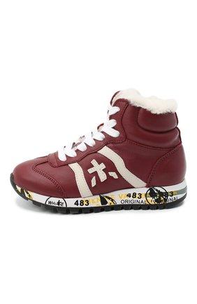 Детские высокие кроссовки PREMIATA WILL BE бордового цвета, арт. ADAM-M/M0081313/T0D | Фото 2 (Материал утеплителя: Натуральный мех)