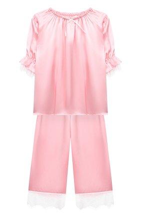 Детская шелковая пижама AMIKI CHILDREN розового цвета, арт. JUSTINE | Фото 1