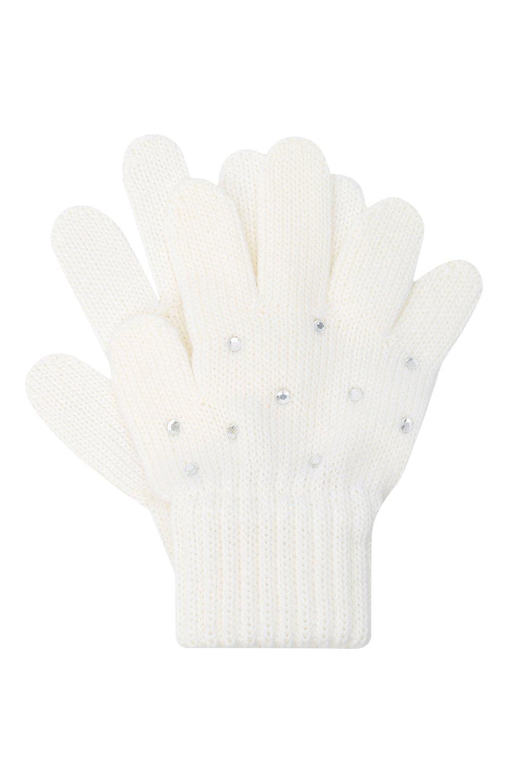 Детские шерстяные перчатки CATYA белого цвета, арт. 024530   Фото 1