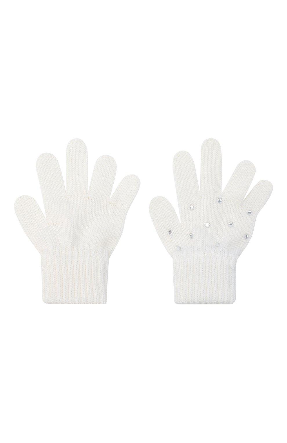 Детские шерстяные перчатки CATYA белого цвета, арт. 024530   Фото 2