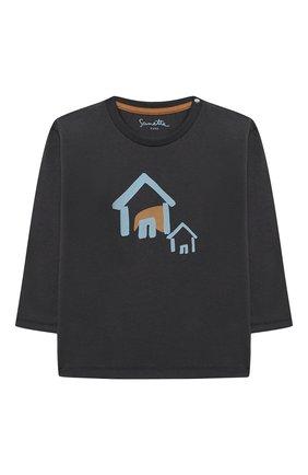 Детский хлопковый лонгслив SANETTA серого цвета, арт. 10128 | Фото 1