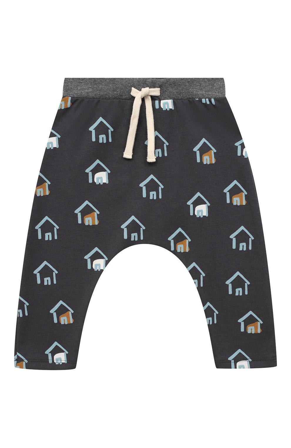 Детские хлопковые брюки SANETTA серого цвета, арт. 10135 | Фото 1
