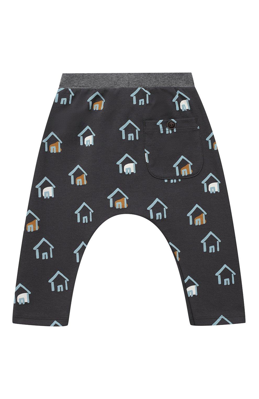 Детские хлопковые брюки SANETTA серого цвета, арт. 10135 | Фото 2