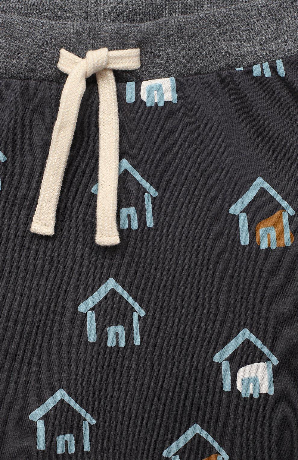 Детские хлопковые брюки SANETTA серого цвета, арт. 10135 | Фото 3