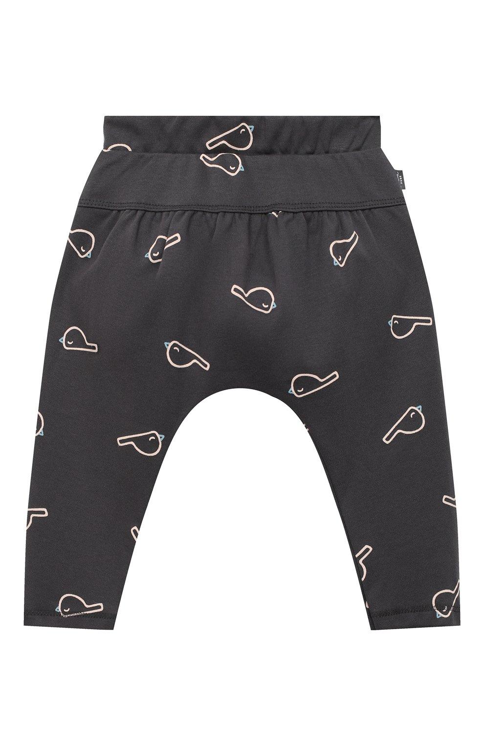 Детские хлопковые брюки SANETTA серого цвета, арт. 10106   Фото 1