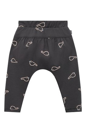 Детские хлопковые брюки SANETTA серого цвета, арт. 10106 | Фото 1