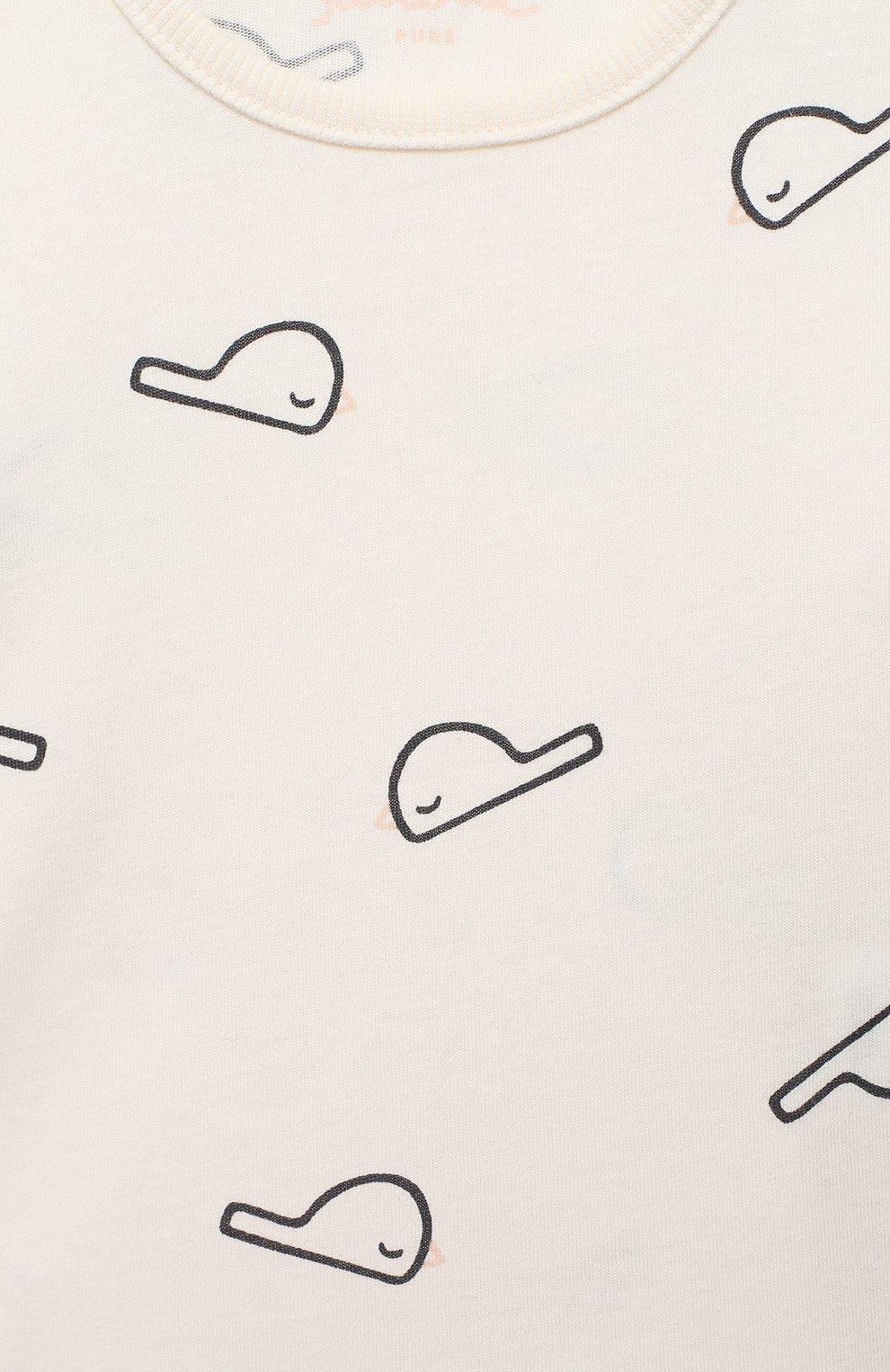Детский хлопковый лонгслив SANETTA белого цвета, арт. 10094 | Фото 3