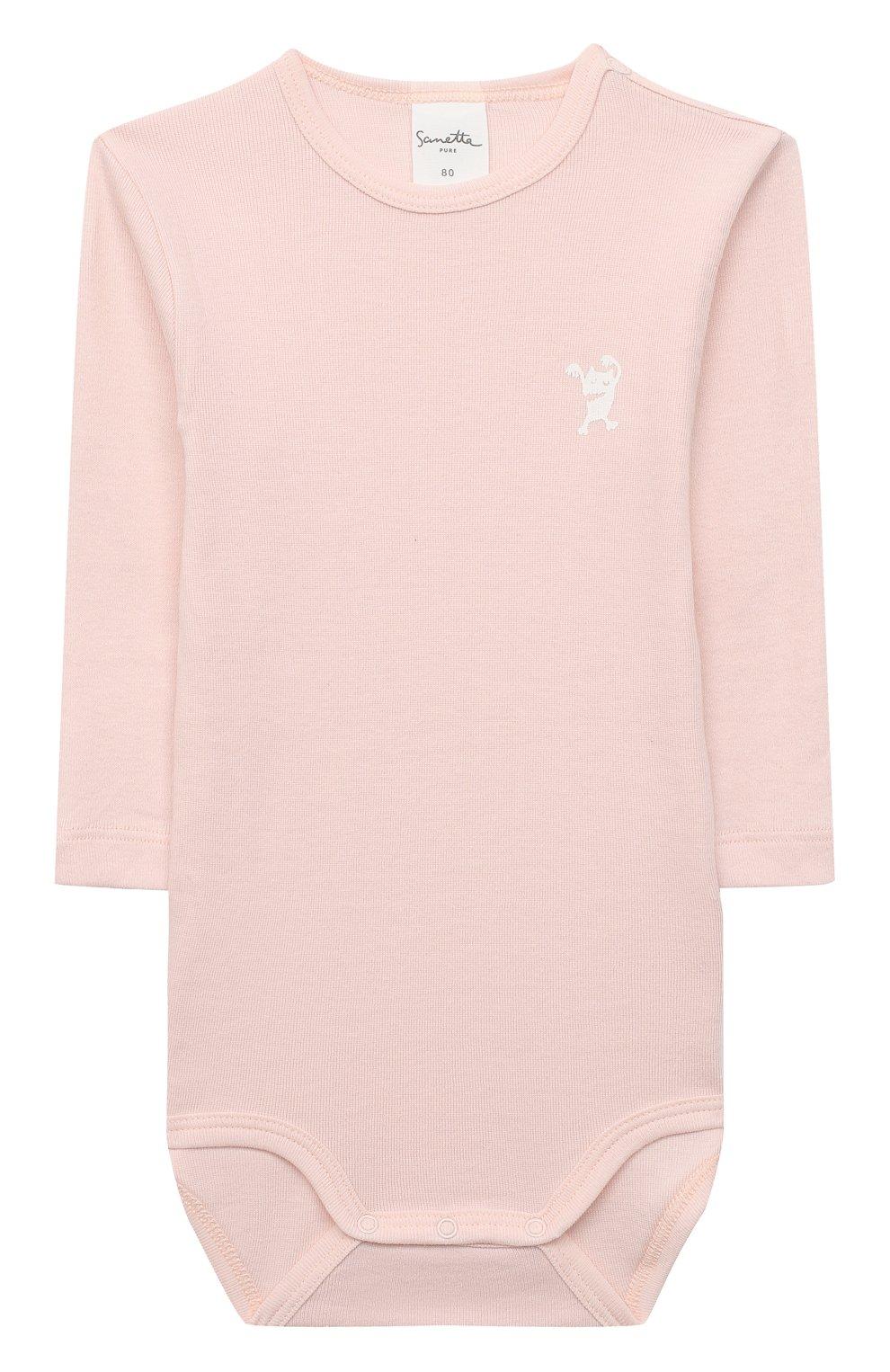 Детское хлопковое боди SANETTA светло-розового цвета, арт. 13048 | Фото 1
