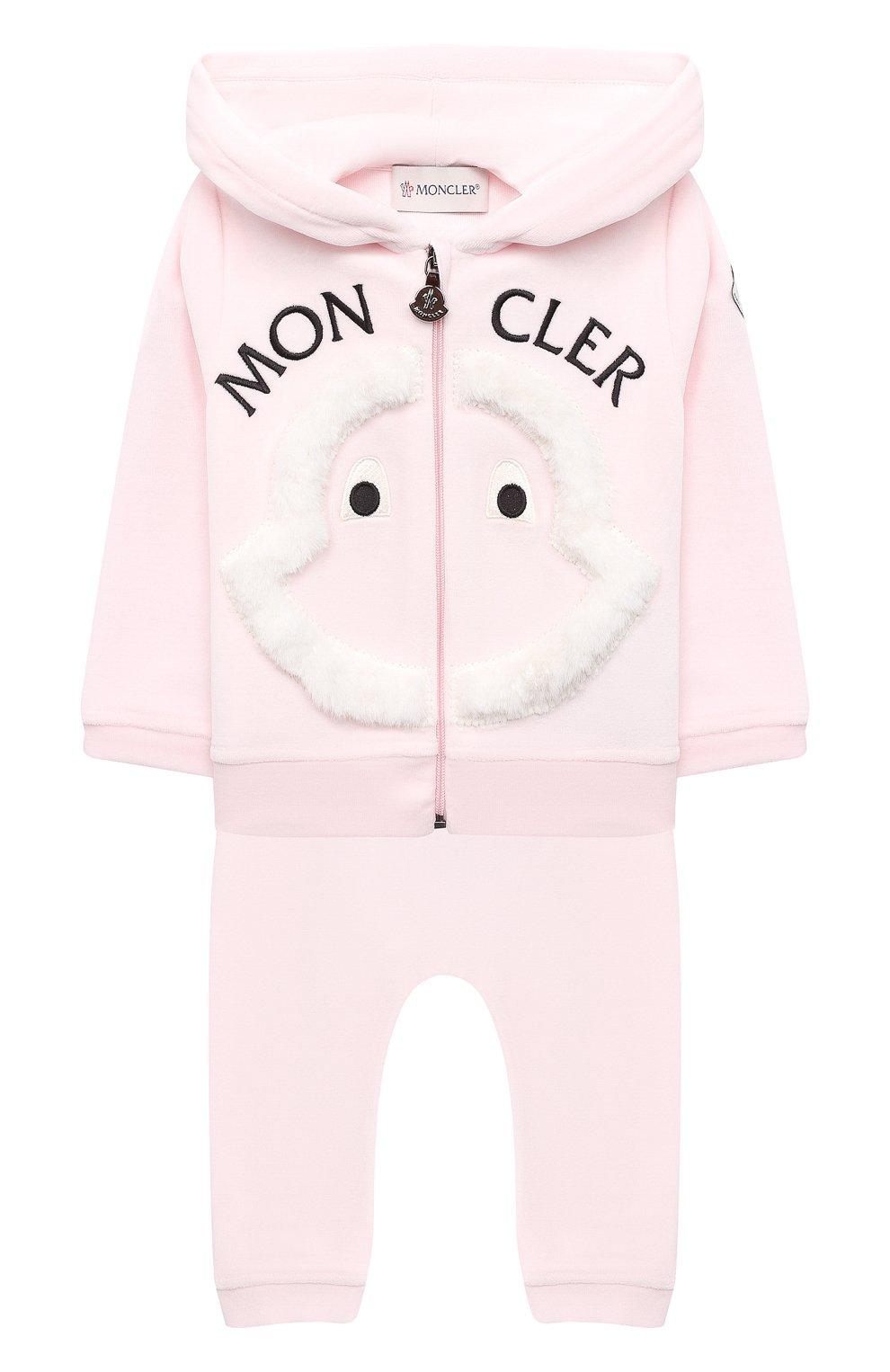 Детский комплект из толстовки и брюк MONCLER светло-розового цвета, арт. F2-951-8M732-10-8999Y | Фото 1