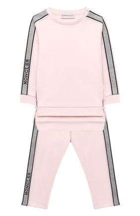 Детский комплект из свитшота и брюк MONCLER светло-розового цвета, арт. F2-951-8M726-10-809EH | Фото 1