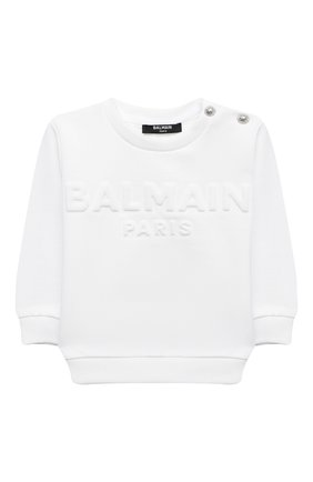 Детский хлопковый свитшот BALMAIN белого цвета, арт. 6N4840/NX300/12-36M | Фото 1